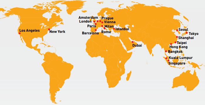 2015 Global Destination Cities Index map