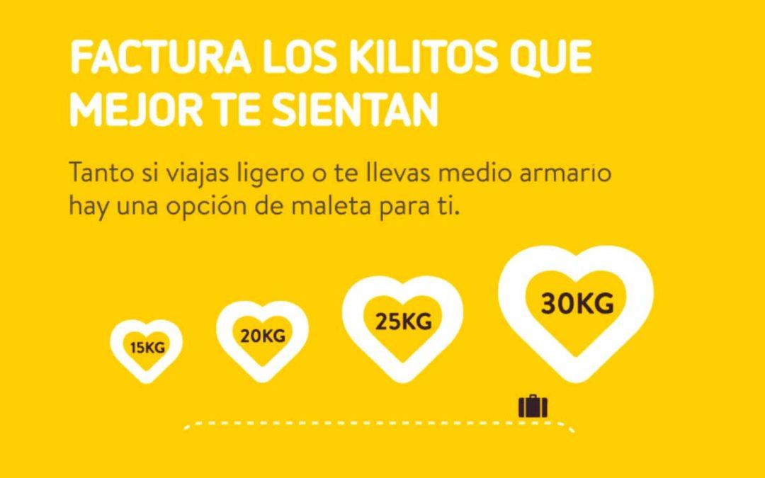 Vueling permite ahora facturar maletas de 15, 20, 25 y 30 kg en sus vuelos